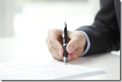 Businessman fill the form